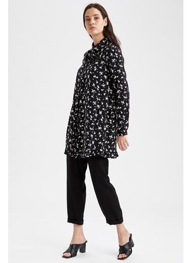 DeFacto Çiçekli Fular Yaka Relax Fit Gömlek Tunik Siyah